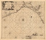 Pascaert vande Bocht van Benin. Copper engraving, uncolored as published. This decorative sea chart shows Benin in West Africa. Amsterdam, C. Vogt, 1684.