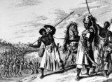 King of Benin with Soldiers, late 17th century, from Dapper, Description de l'Afrique  Traduite du Flamand (1686).